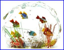LARGE Splendid MURANO Tropical FISH AQUARIUM Art Glass SCULPTURE Paperweight 8.5