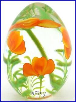 LARGE Stunning ORIENT & FLUME Orange POPPY FLOWERS Studio Art Glass PAPERWEIGHT