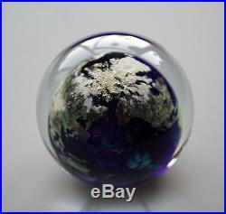 LUNDBERG STUDIOS 3 1/4 Diameter Art Glass World Globe Earth Paperweight 1992