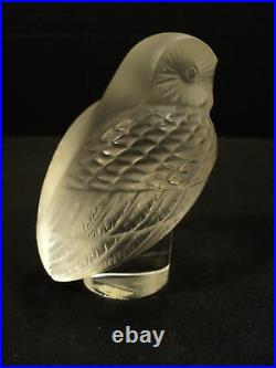 Lalique CHOUETTE Clear & Frosted Crystal Owl Paperweight