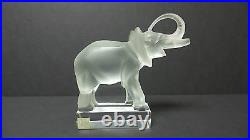 Lalique Clear & Frosted Crystal Trunk-Up ELEPHANT Paperweight Figurine #11801