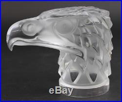 Lalique France Tete D Aigle Eagle Bird Mascot Art Glass Paperweight Figurine SMS