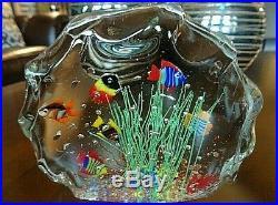 Large Murano Art Glass ROCK AQUARIUM MAGNUM Paperweight Sculpture Fish Seaweed