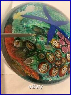 Large PETER RAOS Vibrant PACIFIC CORAL REEF Aquarium Art Glass PAPERWEIGHT 2000
