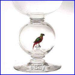 Large Stevens and Williams Wine Goblet withLampwork Parrot, Circa 1930s
