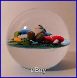 MARVELOUS Clinton Smith RABBIT Lampwork Art Glass PAPERWEIGHT & Signature Cane
