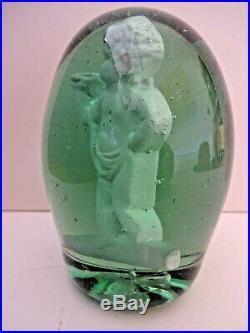 MID 19thC RARE VICTORIAN GREEN GLASS DUMP PAPERWEIGHT, WITH CHERUB CLAY FIGURE