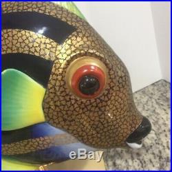 Mangani Oggetti Fish hand painted PorcelainVintage Glass RARE