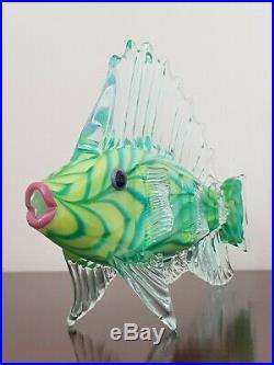 Mark Eckstrand Huge Art Glass Fish Sculpture Figurine Hand Blown Rare Ocean