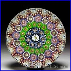 Mike Hunter 2019 close concentric millefiori and daisy cane glass paperweight