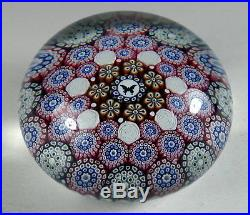 Mike Hunter Twists Glass 2018 Millefiori Paperweight with White Roses & Butterfly