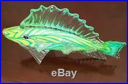 Monumental Mark Eckstrand Art Glass Fish Sculpture Figurine Hand Blown Rare