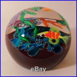 One OUTSTANDING MAYAUEL WARD AQUATIC CORAL REEF MOTIF Art Glass PAPERWEIGHT