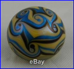 Orient & Flume Art Glass Paperweight Signed 1975 710 Iridescent