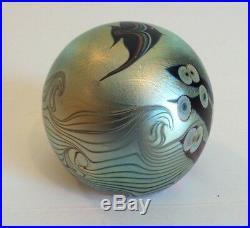 Orient & Flume Blue Iridescent Art Glass Aquarium Paperweight, Signed, 1979