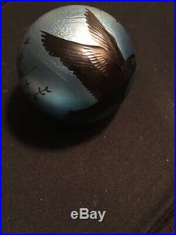 Orient & Flume / Lubomir Richter Crows on Silver Blue Paperweight 1983 Ltd Ed