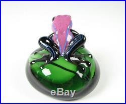 Orient and Flume Smallhouse Frog on Lily Pad Art Glass Paperweight LE 317/1000