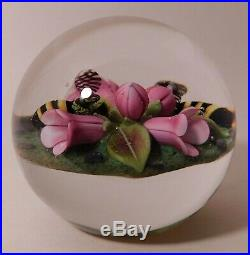 PHENOMENAL CLINTON SMITH Floral Lampwork Art Glass PAPERWEIGHT & Signature Cane
