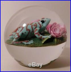 PHENOMENAL CLINTON SMITH Frog Lampwork Art Glass PAPERWEIGHT & Signature Cane