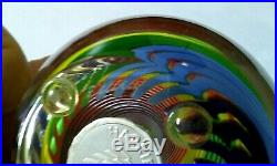 Paul Harrie Multi Colored Rainbow Swirl Pattern Signed Art Glass Paperweight