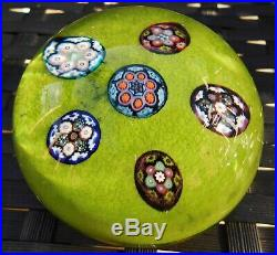 Paul Ysart Complex Roundel Millefiori Canes Mottled Green Harland Paperweight