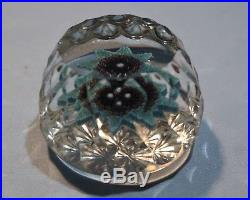 Perthshire English Blue Green Red Millefiori Paperweight Mid 20th Century