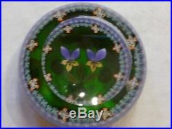 Perthshire Paperweight 1985C Lampwork Wild Pansies on Emerald Base LE EC
