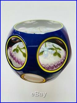 Peter McDougall Art Glass Triple Overlay Flower Bouquet Paperweight Excellent