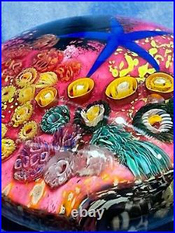 Peter Raos Paperweight 2000 Art glass Pacific Coral Reef and Starfish