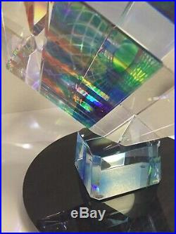 RARE HUGE Cube Prism Optical Laminate Art Glass Sculpture BY BLISS