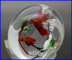 RICK AYOTTE Hummingbird & Flowers Art Glass Small Paperweight, Apr 1.5Hx2.25W
