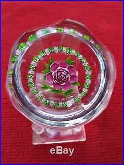 Rare! Alan Scott, John Deacons J Glass Faceted Garland Rose, Glass Paperweight