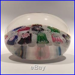 Rare Antique Clichy Art Glass Paperweight Chequered Complex Millefiori With Rose