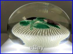 Rare Antique Rose/Flower On Latticino Swirl Glass Paperweight Baccarat/St Louis