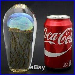 Remarkable RICK SATAVA Blue MOON JELLYFISH Art Glass PAPERWEIGHT Sculpture 6.1