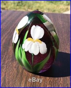 Richard Satava Art Glass Paperweight Signed Ed Alexander White Flower Lily