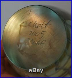 Robert Eickholt 2005 6 Iridescent Glass Jellyfish Paperweight Signed