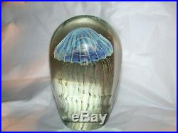 Robert Eickholt 2007 6 Iridescent Glass Jellyfish Paperweight Signed PERFECT