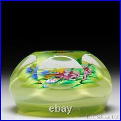 Ronald Hansen flat bouquet faceted glass paperweight