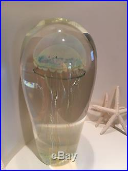 SATAVA Sculpture of a MOON JELLYFISH Art Glass PAPERWEIGHT Signed Large