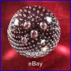 STEUBEN Art Glass Crystal Ball Globe Luminor 5 Bubble Paperweight Signed 1903-33