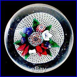 Scarce Antique New England Upright Bouquet in Fine Latticinio Basket