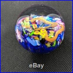 Scattered Millifiori Art Glass Marble Signed Doug Sweet Amazing