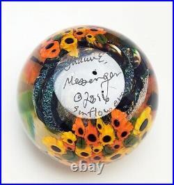 Shawn Messenger Studio Art Glass Millefiori Dichroic Glass Sunflower Paperweight
