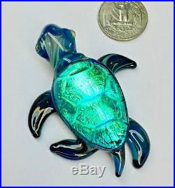 Shimmering Dichroic Glass Sea Turtle Pyrex Paperweight Sculpture Hand Blown USA