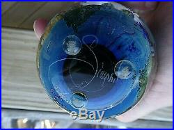 Signed Josh SIMPSON Inhabited Planet SATELLITE Studio Art Glass Paperweight 2.75