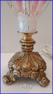 St. Clair Table Lamp Pink Trumpet Jack In Pulpit Flower Paperweight Art Glass