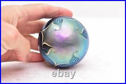 Studio Art Glass Iridescent pulled Feather signed Richardson paperweight