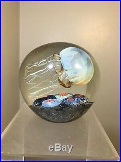 Studio Art Glass Side Swimmer Jellyfish Paperweight Rick Satava