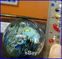 Stunning Signed Josh Simpson Inhabited Planet Art Glass Paperweight WOW